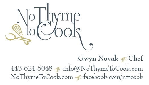 No Thyme to Cook Business Cards