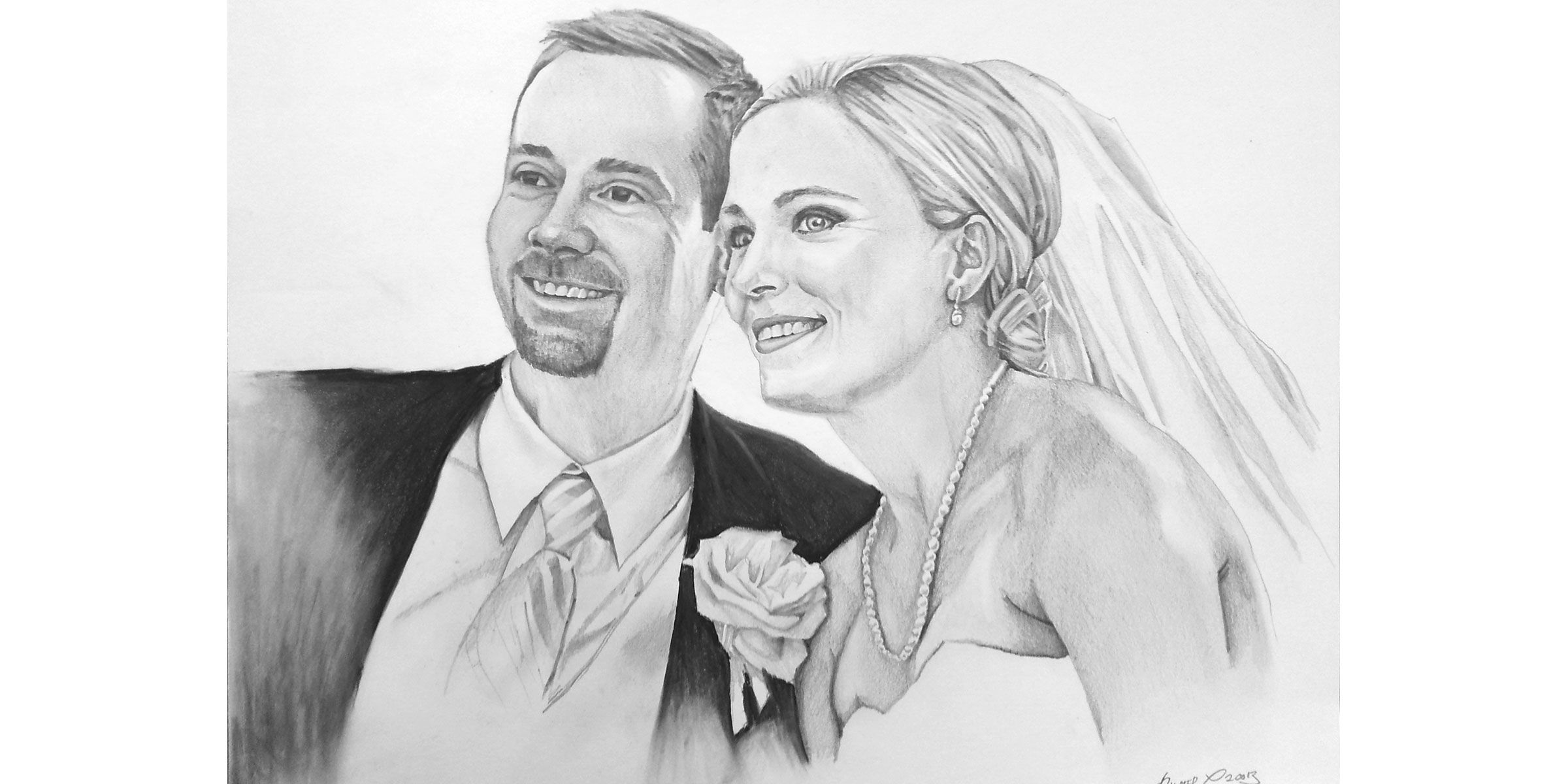 Aaron & Katie - Black and White Drawing by Daniel C. Palmer
