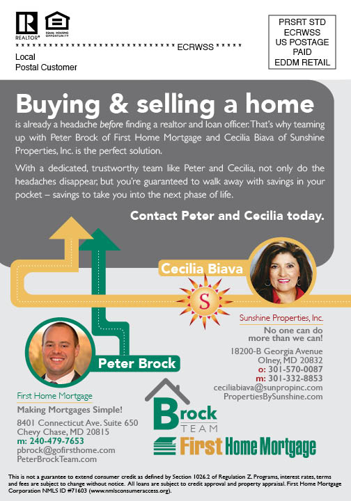 Peter Brock & Cecilia Biava Real Estate Mailer