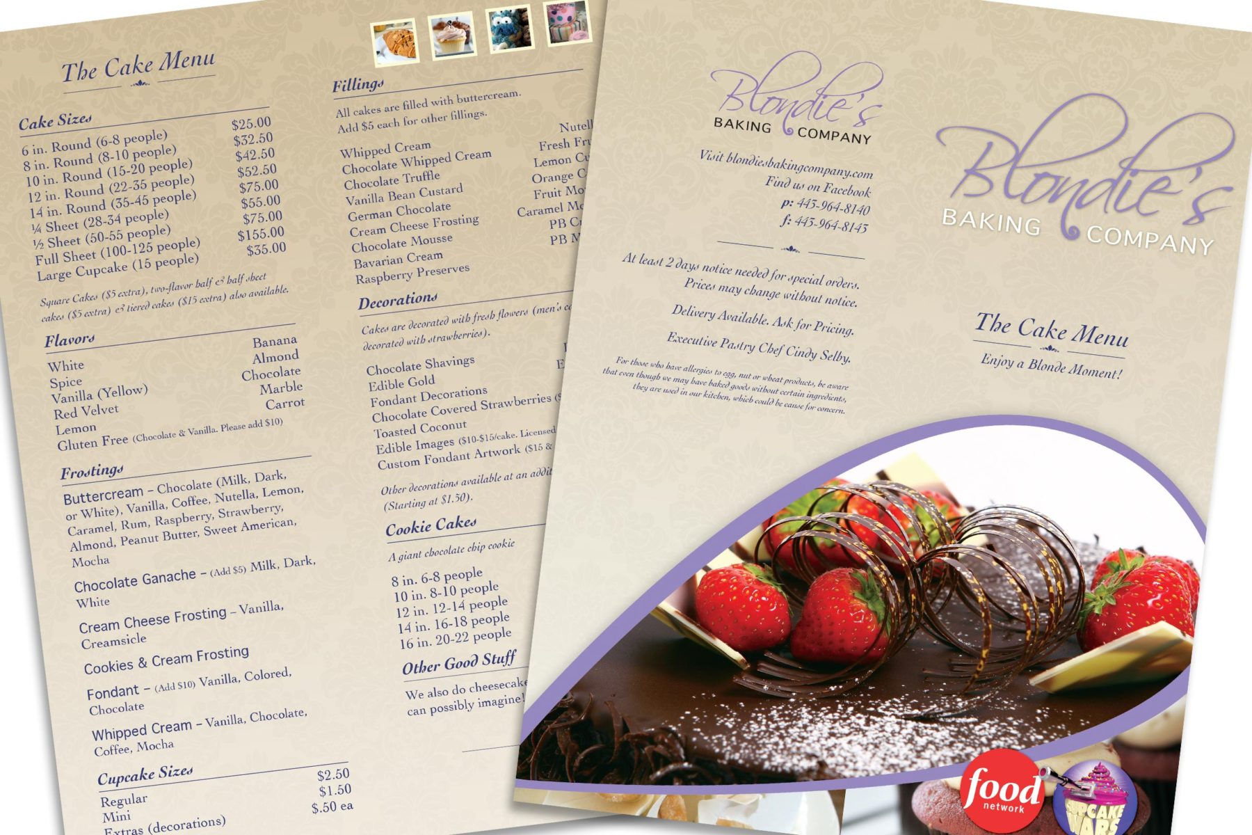 DCP Design - Blondies Menu